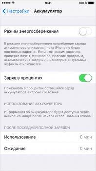 Заряд в процентах на iOS 8-9